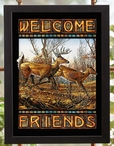 Welcome Friends Deer Stained Glass Welcome Wall Art