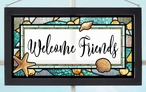 Welcome Friends Stained Glass Wall Art