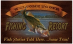Welcome to Our Fishing Resort Wood Sign
