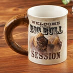 Welcome to the Big Bull Session Bison Stoneware Coffee Mugs, Set of 6