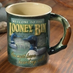 Welcome to the Looney Bin Loons Stoneware Coffee Mugs, Set of 6
