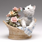 West Terrier Dog with Flowers in a Basket Musical Music Box Sculpture