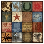 Western Rodeo Hat Sixteen Patch Absorbent Beverage Coasters, Set of 8