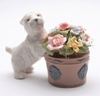 Westie Dog with Flowers Musical Music Box Sculpture