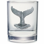 Whale Tail Pewter Accent Double Old Fashion Glasses, Set of 2