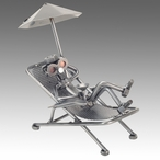 Beach Goer Sitting in a Lounge Chair Nuts and Bolts Metal Sculpture