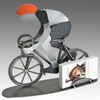 Whimsical Bicycle Rider Metal Business Card Holder