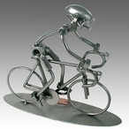Whimsical Bicycle Rider Nuts and Bolts Metal Sculpture
