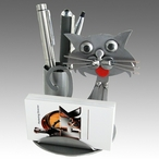 Whimsical Cat Metal Business Card Holder with Pen Holder