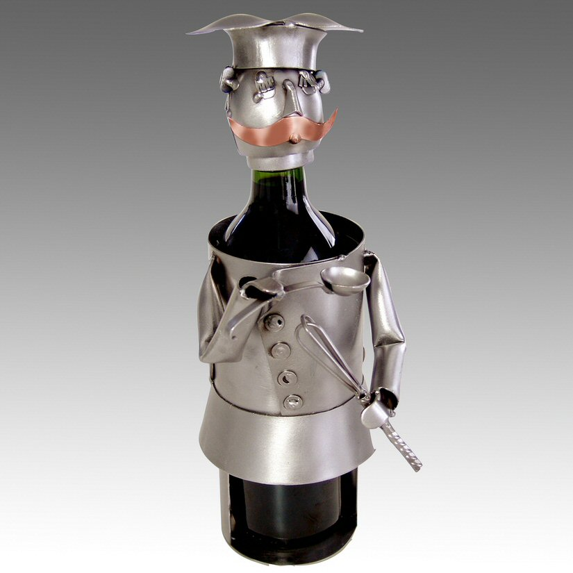 Whimsical chef metal wine bottle holder barware - Wire wine bottle carrier ...