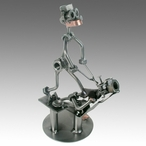 Whimsical Dentist Pulling Teeth Nuts and Bolts Metal Sculpture
