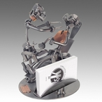 Whimsical Dentist with Patient Metal Business Card Holder
