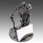 Whimsical Doctor with Patient Metal Nuts & Bolts Business Card Holder