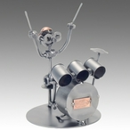 Whimsical Drummer Nuts and Bolts Metal Sculpture
