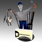 Whimsical Electrician Metal Business Card Holder with Pen Holder