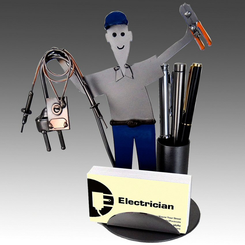 Whimsical electrician metal business card holder with pen holder whimsical electrician metal business card holder with pen holder colourmoves