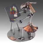 Whimsical Female Artist Nuts and Bolts Metal Sculpture