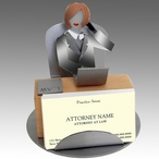 Whimsical Female Attorney Metal Business Card Holder