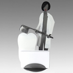 Whimsical Female Dentist Brushing a Tooth Metal Business Card Holder