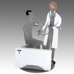 Whimsical Female Doctor with Patient Metal Business Card Holder