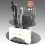 Whimsical Female Executive Metal Business Card Holder with Pen Holder