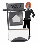Whimsical Female Real Estate Agent Metal Business Card Holder