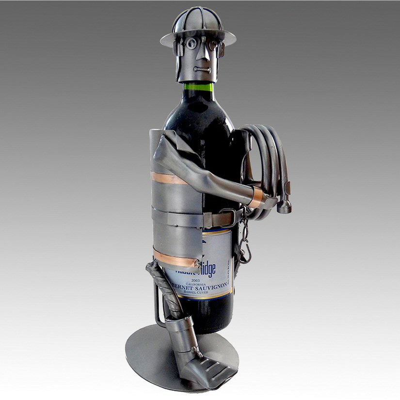 Whimsical Firefighter Carrying A Hose Metal Wine Bottle