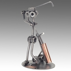 Whimsical Golfer Driving Nuts and Bolts Metal Sculpture