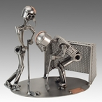 Whimsical Hockey Players Nuts and Bolts Metal Sculpture