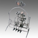 Whimsical Love Swing Nuts and Bolts Metal Sculpture