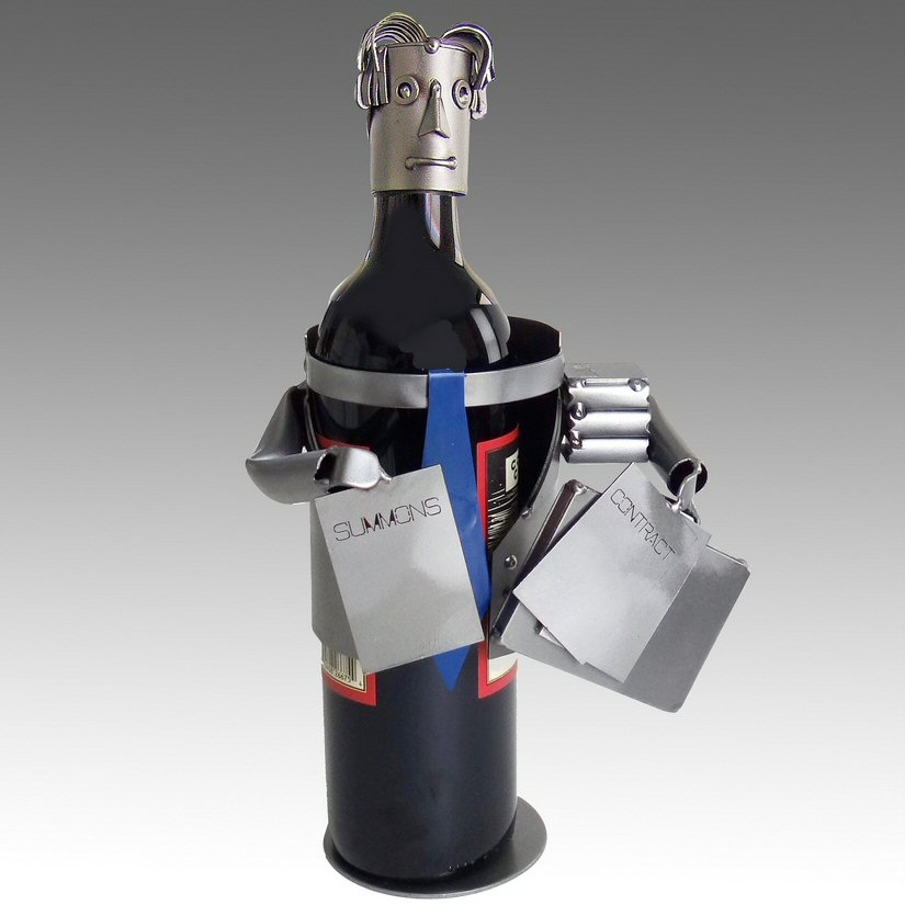 Whimsical male attorney metal wine bottle holder barware - Wire wine bottle carrier ...