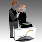 Whimsical Male Hair Stylist Metal Business Card Holder