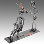 Whimsical Male Hairstylist Nuts and Bolts Metal Sculpture
