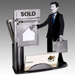 Whimsical Male Real Estate Agent Metal Business Card Holder