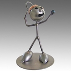 Whimsical Male Tennis Player Stomper Metal Sculpture