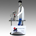 Whimsical Male Veterinarian Examining a Cat Metal Business Card Holder