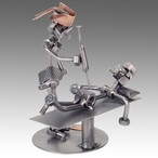 Whimsical Nurse with Patient Nuts and Bolts Metal Sculpture