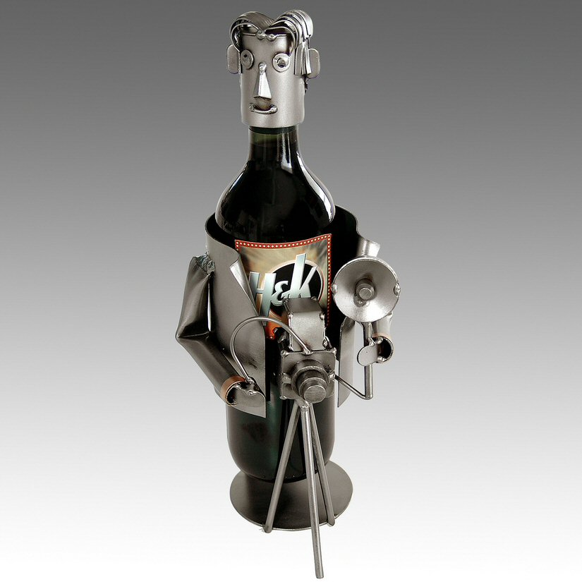 Whimsical photographer metal wine bottle holder barware - Wire wine bottle carrier ...