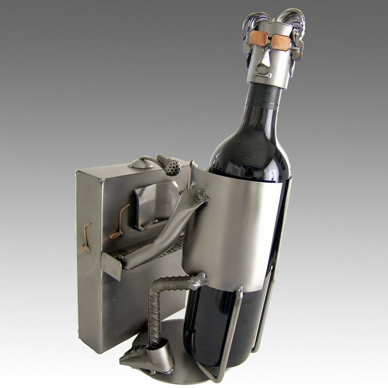 Whimsical piano player metal wine bottle holder barware - Wire wine bottle carrier ...