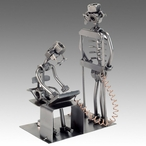 Whimsical Radiologist Doctor with Patient Nuts & Bolts Metal Sculpture