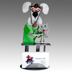 Whimsical Veterinarian Dog with Cat Metal Business Card Holder
