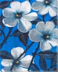 White Blossom Flowers On Blue I Wrapped Canvas Giclee Print
