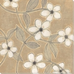 White Blossoms on Suede I Wrapped Canvas Giclee Print Wall Art
