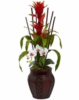 White Bromeliad and Orchid Combo Silk Plant with Planter