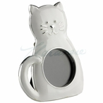 White Cat with Curled Tail Photo Frame, Set of 2