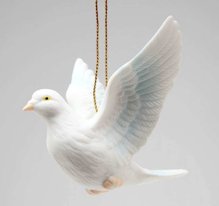 white dove bird christmas tree ornaments set of 4 - Bird Christmas Decorations