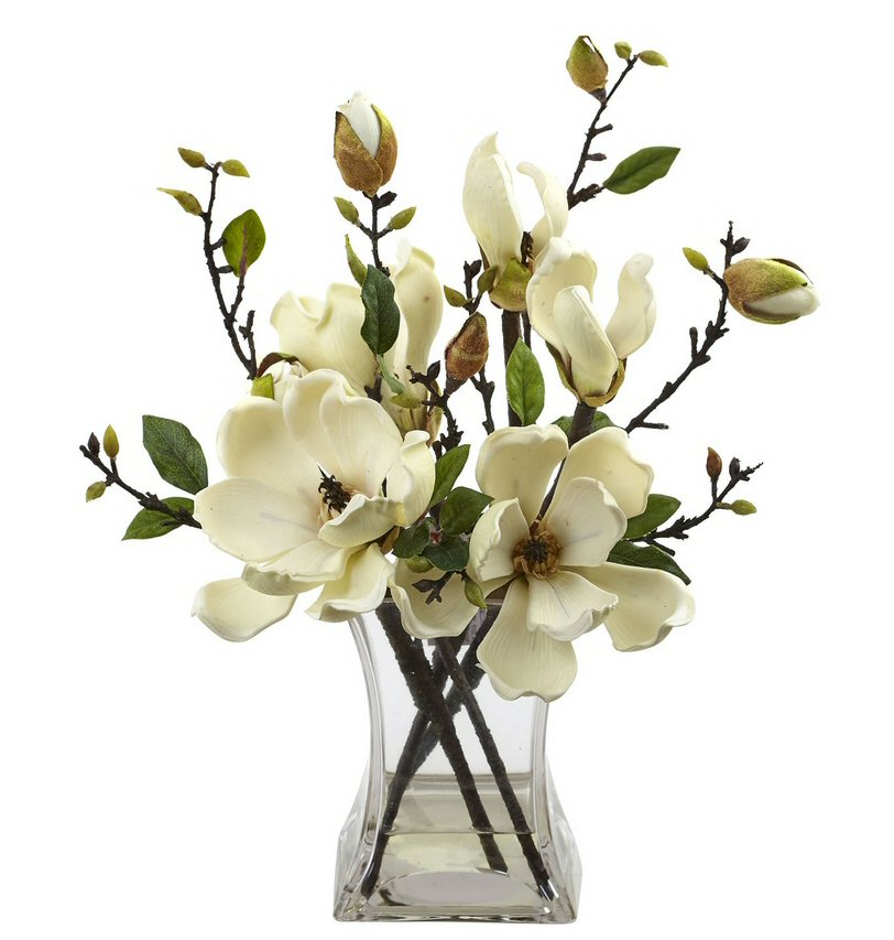 White Magnolia Silk Flower Arrangement With Vase Artificial