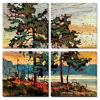 White Pines Wrapped Canvas Giclee Print Wall Art, Set of 4