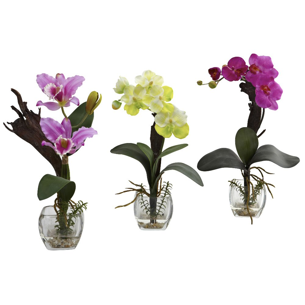 White Purple Orchid Silk Flower Arrangement with Cube, Set