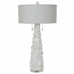 White Shells Resin and Crystal Table Lamp with Grey Linen Shade
